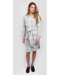 JOA Plaid Button Down Dress white - Lyst