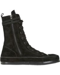 Ann Demeulemeester Zipped Leather High Top Sneakers - Lyst