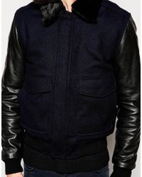 Schott Nyc Flight Jacket With Leather Sleeves - Lyst