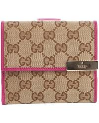 Gucci Beige and Pink Gg Canvas French Wallet - Lyst