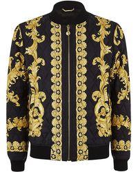 Versace Iconic Print Silk Bomber Jacket - Lyst
