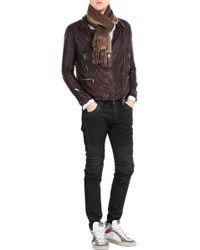 Giorgio Brato Leather Biker Jacket brown - Lyst