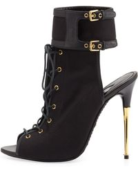 Tom Ford Stretch Canvas Laceup Bootie Black - Lyst