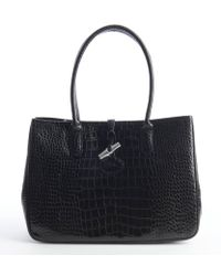 Longchamp Black Croc Embossed Leather Toggle Tote - Lyst