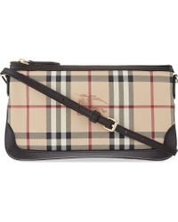 Burberry Checked Leather Shoulder Bag Brown - Lyst