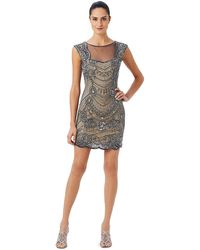 Adrianna Papell Beaded Illusion Back Dress - Lyst