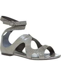 Leon Max - Coral - Flat Snakeskin Sandals - Lyst