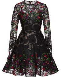 Elie Saab Embroidered Floral Guipure Short Dress - Lyst