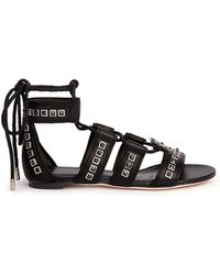 Alexander McQueen Braided Lace Contrast Stud Leather Sandals black - Lyst