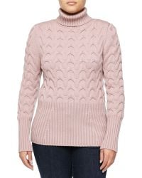 Carolina Herrera Cable And Ribbed Knit Turtleneck Sweater - Lyst