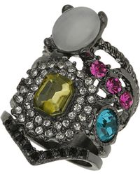 Topshop Mix Jewelled Layer Look Ring - Lyst