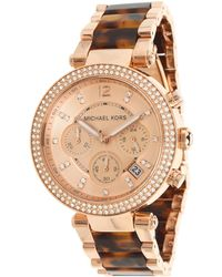 Michael Kors Womens Parker Chrono White Crystal Rose Gold Textured Dial Rose Gold Tone Ip Ss  Tortoise Acrylic - Lyst
