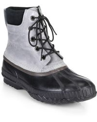 Sorel Cheyanne Leather Lace-Up Boots gray - Lyst