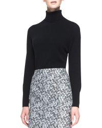 Carolina Herrera Long Sleeve Turtleneck Sweater Black - Lyst