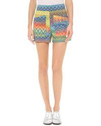 M Missoni - Zigzag Print Shorts Multi - Lyst