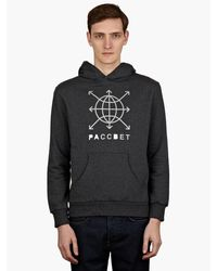 Gosha Rubchinskiy Mens Grey Printed Hooded Sweatshirt - Lyst
