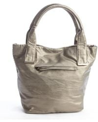 Big Buddha Gunmetal Stitched Faux Leather Top Handle Tote - Lyst