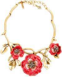Oscar de la Renta Flower Necklace - Lyst