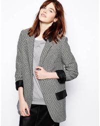 Helene Berman Slouchy Boyfriend Blazer with Faux Leather Pockets - Lyst