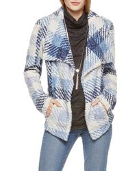 Two By Vince Camuto - Fuzzy Plaid Drape Front Coat - Lyst
