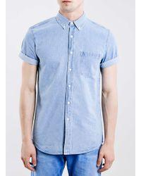 Topman Mid Wash Blue Denim Short Sleeve Shirt - Lyst