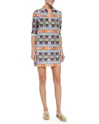 Tory Burch Long-Sleeve Geometric-Print Tunic - Lyst