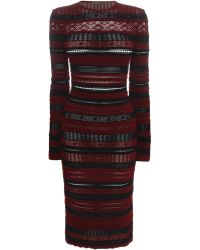 Alexander McQueen Striped Knit Dress red - Lyst