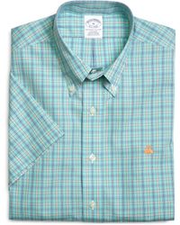 Brooks Brothers Supima Cotton Non Iron Slim Fit Framed Check Short Sleeve Sport Shirt - Lyst