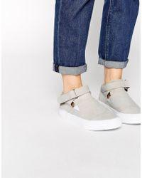 Asos Defuse Velcro Strap Suede Hi Top Sneakers gray - Lyst