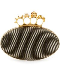Alexander McQueen Studded Oval Knuckle Clutch Bag Black - Lyst
