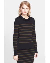 Alexander McQueen Stripe High/Low Wool Sweater black - Lyst