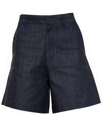 Acne Studios Tail Raw Denim Shorts - Lyst