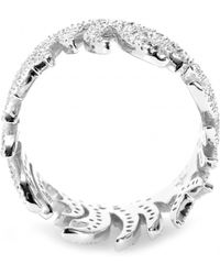House of Waris - White Flame 18kt White Gold Ring With White Pavé Diamonds - Lyst