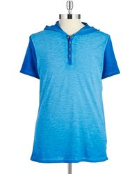 Guess Colorblocked Henley Tee blue - Lyst