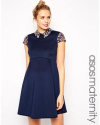 Asos Maternity Debutante Prom Dress With Embellished Collar And Sleeves - Lyst