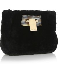 Tory Burch Shearling Clutch - Lyst