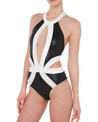 Akira Black Label Scandalous Backless Black Pearl Bodysuit black - Lyst