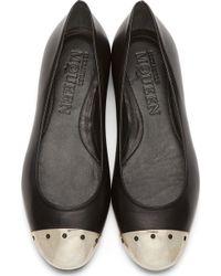 Alexander McQueen Black Toe Cap Ballerina Flats - Lyst