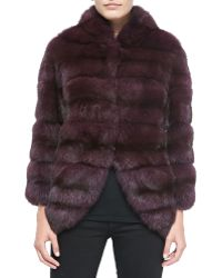 Oscar de la Renta Sable Fur Jacket with Suede Insets - Lyst