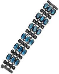 Lauren by Ralph Lauren Hematite-tone Blue and Black Bead Multi-row Flex Bracelet - Lyst