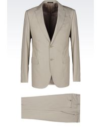 Armani Slim Fit Suit In Cotton And Wool - Lyst