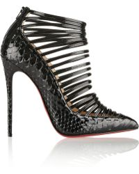 Christian Louboutin Gortik 120 Python and Patentleather Ankle Boots - Lyst