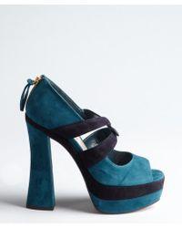 Miu Miu Teal Suede Platform Sandals - Lyst