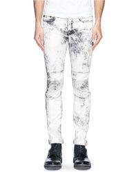 Neil Barrett Ribbed Knee Bleached Skinny Jeans - Lyst