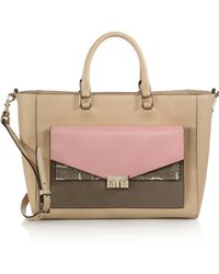 Tory Burch T-Lock Multicolor Leather Tote beige - Lyst
