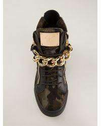 Giuseppe Zanotti Gold Chain Detail Sneakers - Lyst