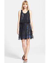 Jean Paul Gaultier Fringe Overlay Print Blouson Dress - Lyst