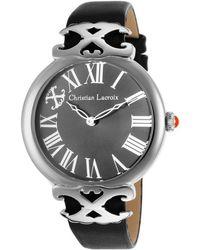 Christian Lacroix - Women's Black Genuine Leather Gunmetal Dial - Lyst