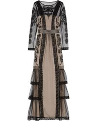 Alice By Temperley Botanical Lace-trimmed Embroidered Tulle Gown - Lyst
