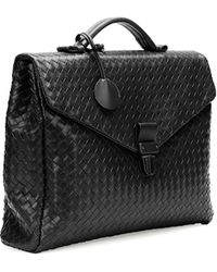 Bottega Veneta Small Woven Leather Briefcase Black - Lyst
